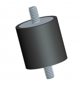 Male Male Style of a Cylindrical Rubber Mount used for Vibration Isolation