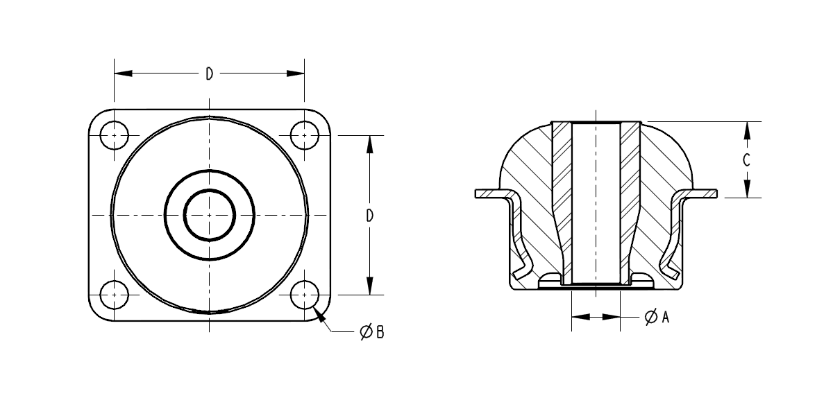 Diagram of a Conic Style Anti-Vibration Isolator