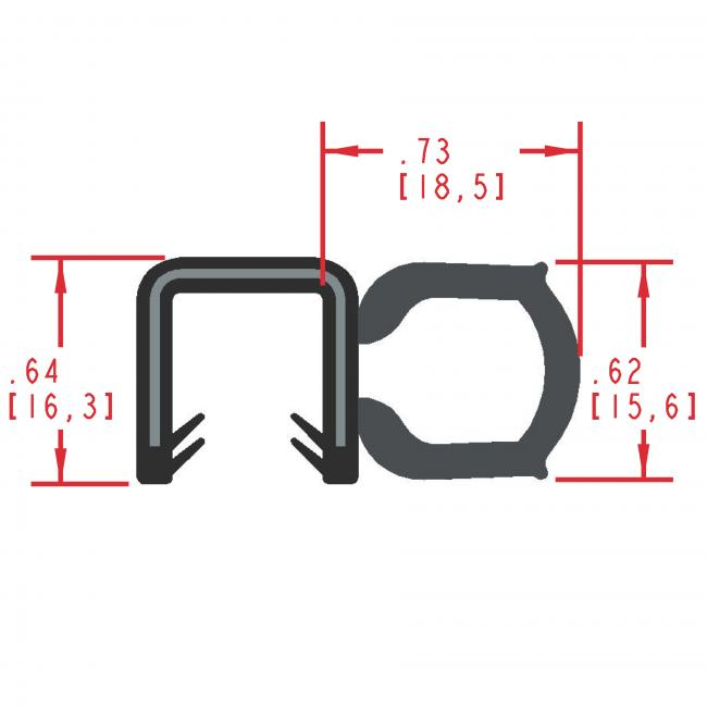 MC5145 - Extruded Side Bulb Seal