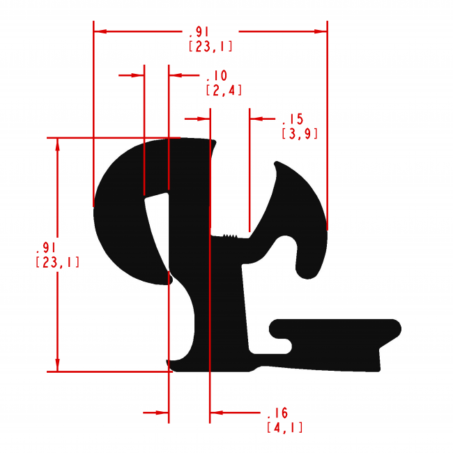 Window Channel Shaped Seal, Style Number WC230