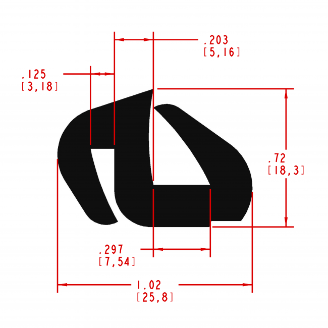 Window Channel Shaped Seal, Style Number WC310