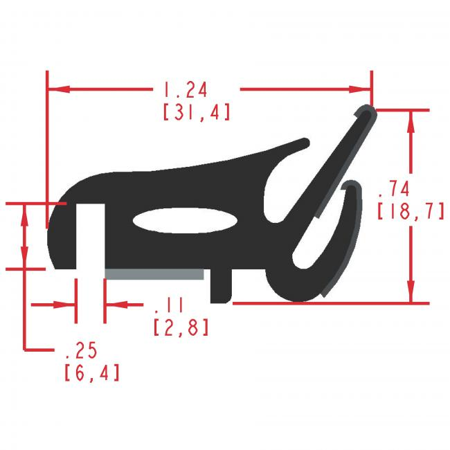 Flocked Rubber Seal Profile EF400