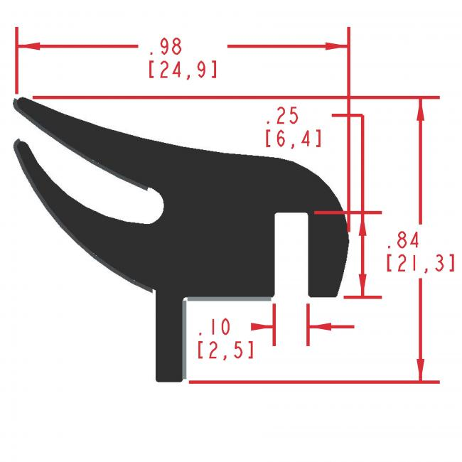Flocked Rubber Seal Profile EF405