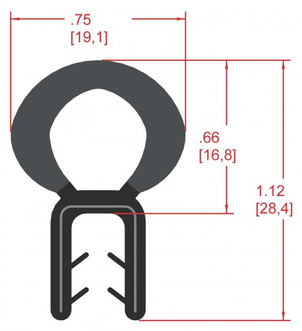 Rubber Seal with Top Bulb, Profile MC1000