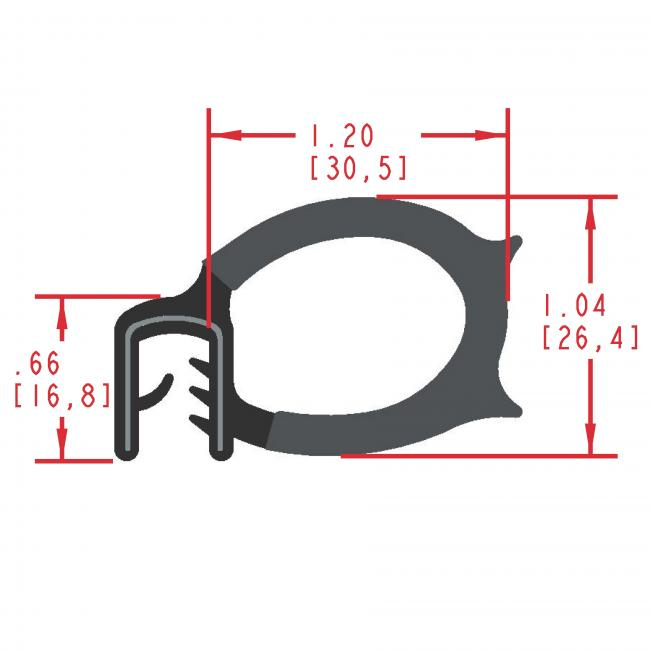 Side Bulb Rubber Seal, Profile MC1885
