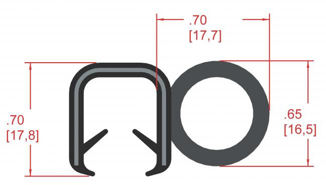 Side Bulb Rubber Seal, Profile MC300