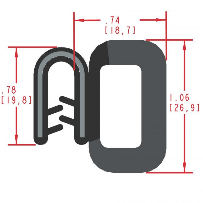 Side Bulb Rubber Seal, Profile MC5000