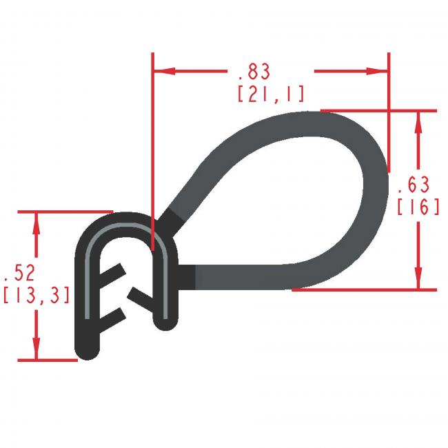 Side Bulb Rubber Seal, Profile MC5020