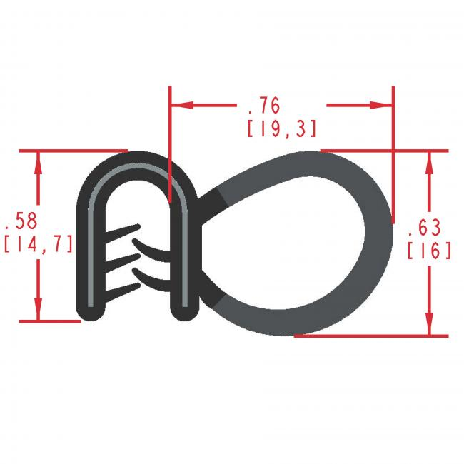 Side Bulb Rubber Seal, Profile MC5140