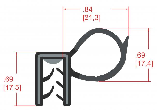 Side Bulb Rubber Seal, Profile MC5172